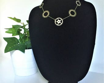 Silver Bicycle Gear Necklace \\ Silver Jewelry \\ Silver Chain