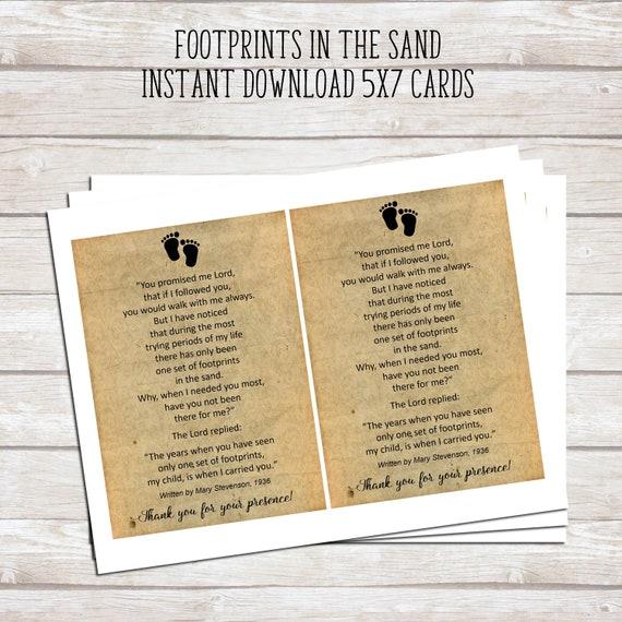 Footprints in the Sand Printable Poem Baby Baptism Favor