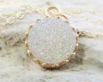 White Crystal Druzy Necklace, Genuine Crystal Druzy, Round Druzy Gemstone Necklace, Druzy Pendant Necklace, Druzy Jewelry
