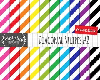 Diagonal Stripe Digital Paper, Striped Scrapbooking Paper, Background Paper, Digital Download