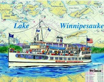 MS Mount Washington Art Print ( The Mount Washington cruises the waters of Lake Winnipesaukee )