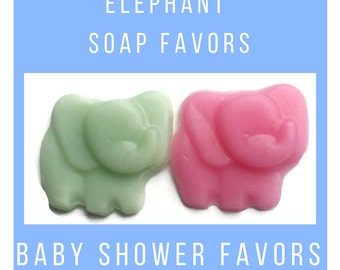 Elephant Baby Shower Soap Party Favors -  Baby Shower Favors for Gender Reveal Party, Custom Color & Scent - Pack of 20