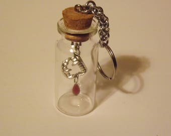 Vampire Teeth and Blood Drop in a Bottle Key Chain