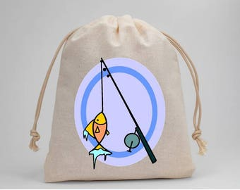 Fishing, Fish, Birthday Party, Party Bags, Muslin Bags, Goodie Bags, Treat Bags, Favor Bags, Fabric Bags, Drawstring Bags