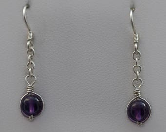 High Grade, Deep Purple, Amethyst Gemstone, February Birthstone, Argentium Silver, Forever Dragonfly, Gifts for Her, Made by Hand Earrings