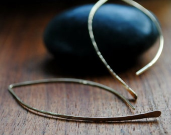 Gold Open Hoop Earrings - Gold Hoops - 14K Gold Earrings - Crescent Hoop Earrings