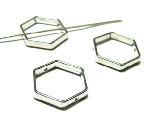 PAX 10 METAL beads spacers frame HEXAGON 21 mm silver plate S1199389