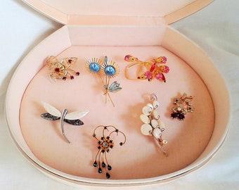 Vintage Brooch collection dragon fly Rhinestone Amethyst Ruby Pearl Emeral vintage Jewelry box