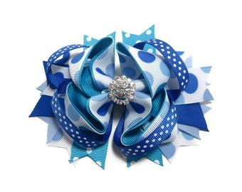 Blue Hair Bow, Polka Dot Boutique Hair Bow, Birthday Bow, Twisted Hair Bow, Birthday Gift, Girls Hair Bow