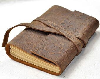 Personalized Leather Journal leather brown flower leather journal (free stamp)