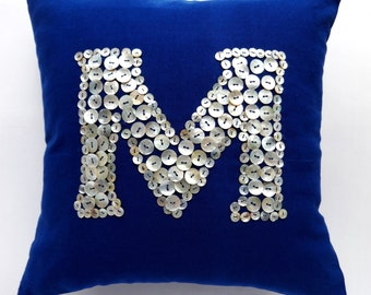 Navy blue initial pillow. Made of mathar of pearl buttons. Parsnalize gift pillow. Decorative monogram pillow cover. Custom made colours