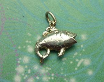 Vintage Sterling Silver Dangle Charm - Fish