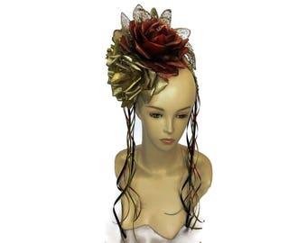 """De los Muertos Flower Crown, Calavera Floral Headpiece, Frida Costume Headband, Burlesque, Day of the Dead Headpiece - """"Corona de Flores"""""""