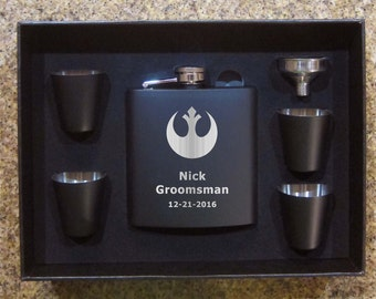 Star Wars Rebel Alliance Wedding Groomsman Black Flask Set Valentines Birthday Christmas Gift
