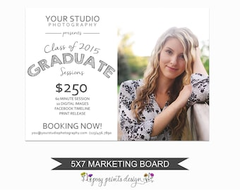 Senior Session Marketing Board - Template for Photographers - Digital Photoshop Template - 5x7 Photography Design - GCMS02