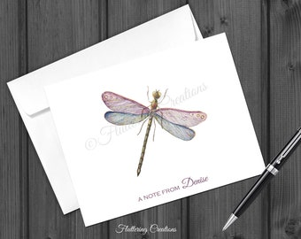 Personalized Dragonfly Note Cards. Folded Personalized Note Card. Stationery. Watercolor Dragonfly Note Card Set.