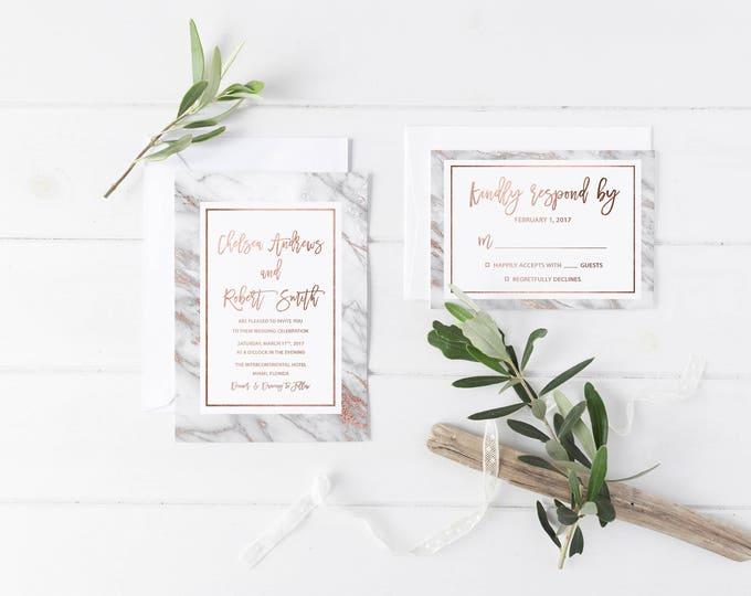 Geode Wedding Invitation, Rose Gold Marble Wedding Invitation, Rose Gold Wedding Invitation, Printable Wedding Invite
