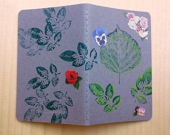 Writing Journal, Small Moleskine Notebook, Student Gift, Moleskine Journal, Gift for Writer, Plants, Grey, Gray, Floral, Decorated Journal