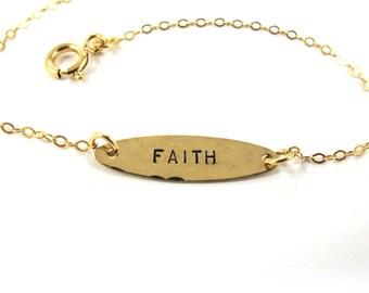 Handstamped  Bracelet - FAITH Bracelet - 14k Gold-Filled