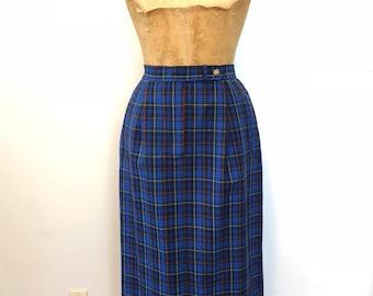 Pendleton Originals Blue Plaid Skirt / Vintage 60s Long Skirt / 1960's Long Pencil Skirt with Pockets / Fall or Winter Wool Skirt