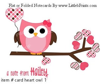 Girl Pink Owl Hearts Balloon Note Cards Set of 10 personalized flat or folded cards