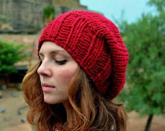 Red Slouchy Beanie Women's Slouchy Hat Hand Knit Hat Slouchy Beanie Christmas Gift Winter Accessories