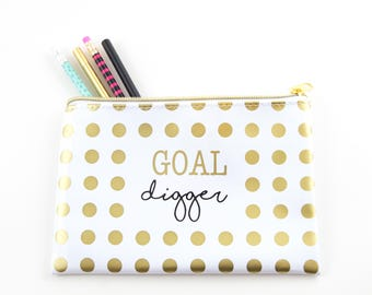 Goal Digger | Gold Foil Polka Dot Pencil Pouch