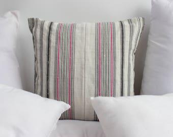 VINTAGE Hmong Pillow Hand Woven HEMP Organic HMONG Ethnic A Piece Of Tribal Textile Striped Black & White Cream 18 x 18