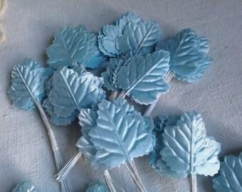 Vintage millinery blue oak leaves / paper flower leaves /36pc / Millinery fabric flowers, Vintage Wedding & hats