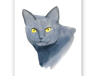 Blue Russian Cat - 8x10 Art Print