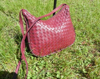 Vintage Woven Leather Shoulder Purse Oxblood Red by MONDO