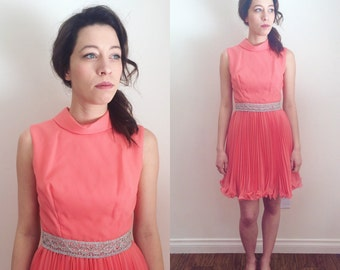 1960s Coral Party Dress With Swing Skirt and Silver Belt 27 Inch Waist | 60s Pink Dress with Accordion Pleats