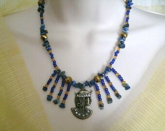 Diosa Bast collar, joyería Wicca pagana joyería wicca diosa joyería collar wiccan magia metafísica de brujería de la bruja