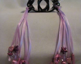 Hair Clips with Ribbons and Beads....set of 2....hand made...black / lavender