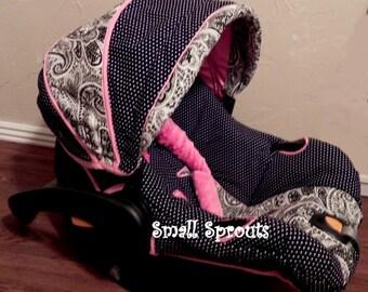Black & White Paisley/Polka Dot/Hot  Pink Minky Dot Infant Car Seat Cover Set Infant car seat cover 5 piece set
