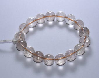 AA 12.50-12.94mm 240 Cts Natural Quartz Round Beads Stretch Bracelet(5199-5201)