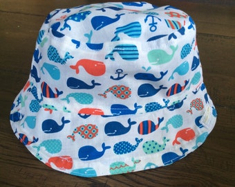 Reversible Whales Toddler Baby Sun Hat (4 child/baby sizes available)