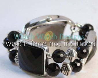 Mini Black.. Petite Black Acrylic and Glass Interchangeable Beaded Watch Band, Silver Plated