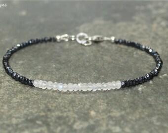 Mystic Black Spinel & Rainbow Moonstone Bracelet, Layering, Minimalist, Mystic Black Spinel Jewelry, Gemstone Bracelet