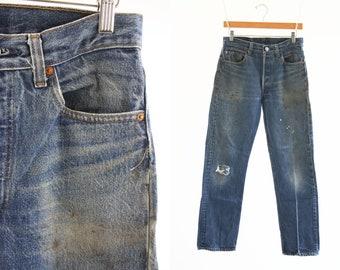 "29"" X 28"": Vintage 80's LEVI Strauss and Co. 501 XX UNISEX Men's Women's Medium Wash Highly Distressed Retro Denim Jeans"