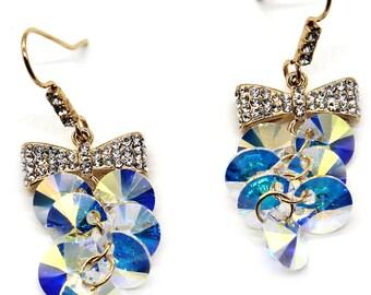 Lovely bow tie swarovski crystal hook earrings