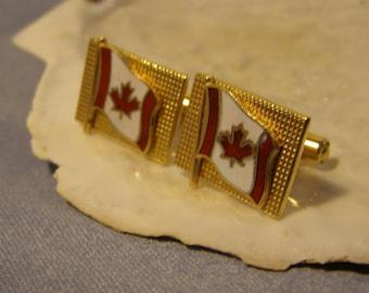 Beautiful CANADA Flag Cufflinks w gold Finish - Red White Enamel CANADIAN FLAG, vintage Cuff Jewelry - Modern mens Fashion, Birthday gift