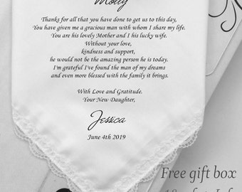 Mother In Law Gifts On My Wedding Day-Personalized Wedding Handkerchief  Gifts -Printed-Custom Prints Hanky-MOG Gifts- Free Gift Box/HY1002