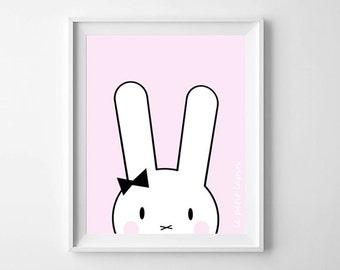 Nursery Illustration, Animal Print, nursery print, Pink, Nursery art, kids decor, baby girl, nursery decor, Baby wall art, printable, gift