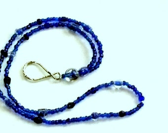Cobalt Blue Glass Beads Glasses Chain with Loop Glasses Holder - Gorgeous Beads!