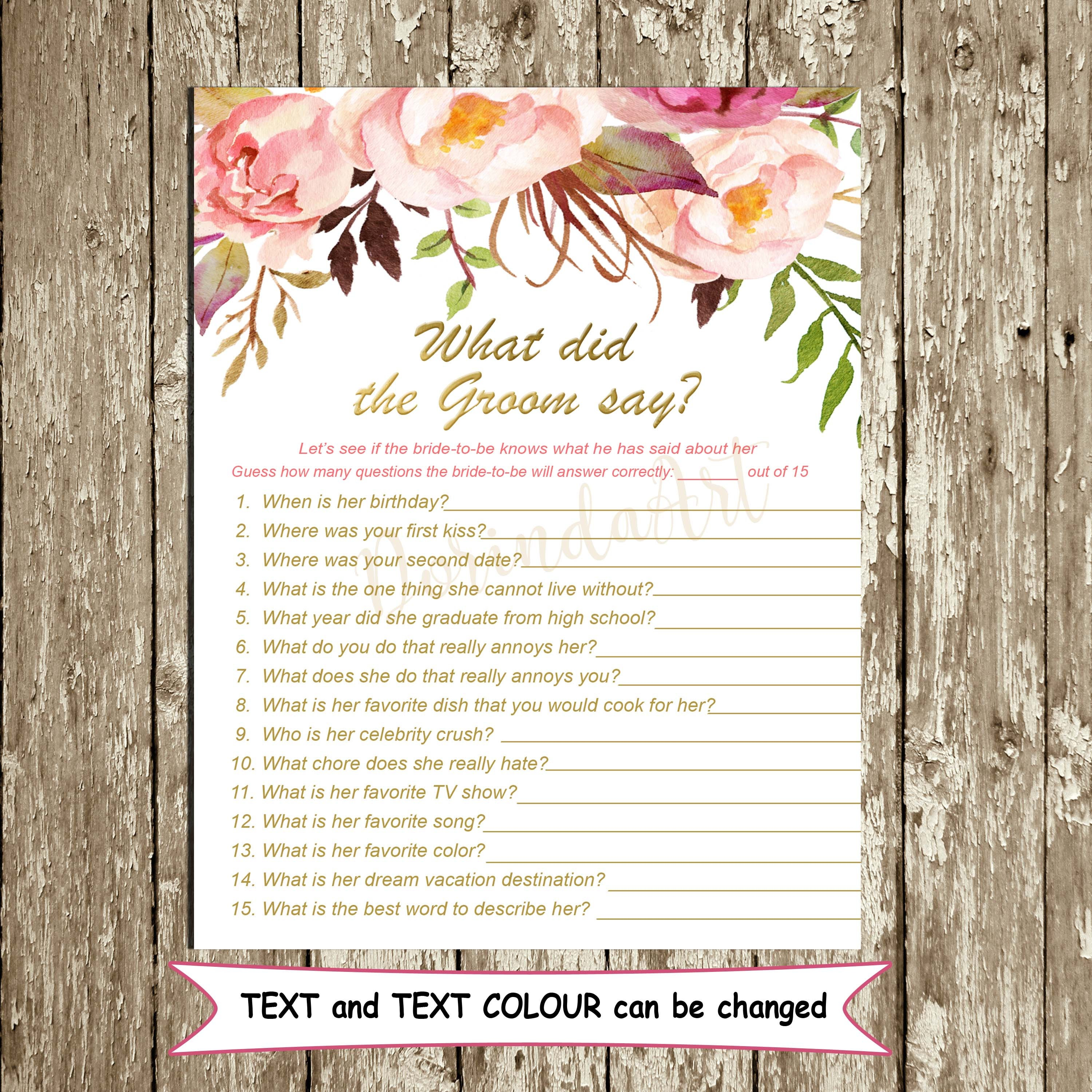 What Did The Groom Say Game Printable What Did He Say About