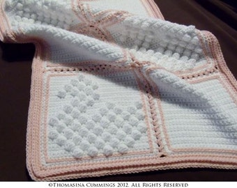 Crochet Blanket with Swan Bobble Pattern INSTANT DOWNLOAD PDF from Thomasina Cummings Designs