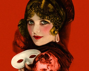 Beautiful Art Deco Spanish Flapper Print, Holding a Mask, Wearing hair comb, Jazz age, red dress,Earl Christy,1921, Giclee Art Print 11x14