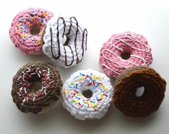 Half dozen donuts play food - amigurumi style crochet donut with icing or sprinkles - doughnut toy