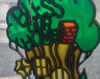Stained glass 'Bless Our Home' god jesus tree house home decor mothers day
